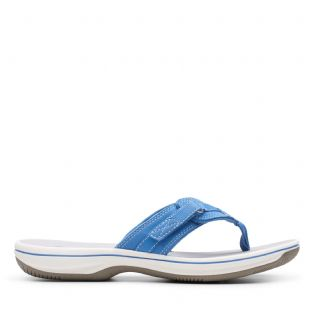 Clarks Womens Brinkley Sea Blue Synthetic Sandals